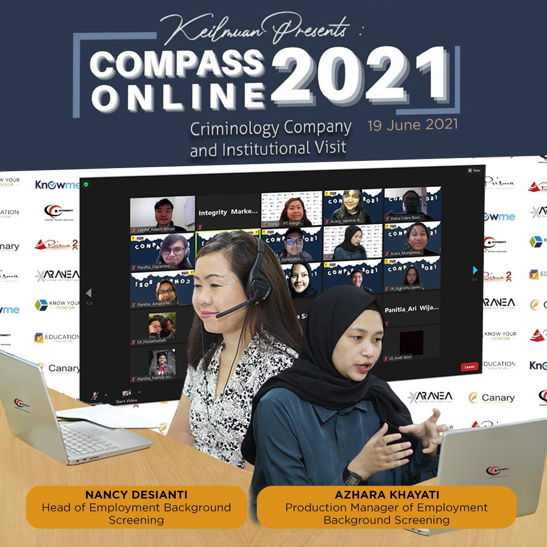 Integrity Indonesia as one of the speakers at the 2021 Compass Online event organized by the Department of Criminology, University of Indonesia (UI)